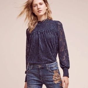Deletta Anthropologie laced mock neck top